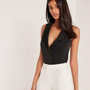 NWOT Sexy Sleeveless Blazer Bodysuit